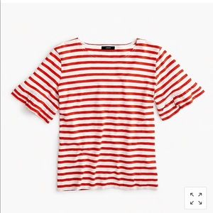 J.Crew Ruffle-sleeve T-shirt in Red Stripe
